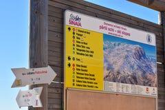 Indikatorbrädet med skidar lutningsområde och ruttar på Cota 2000, Sinaia, Rumänien arkivbilder