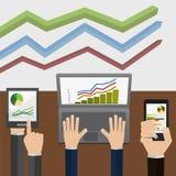 Indikatorer och statistik, som visas Arkivbilder