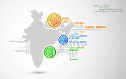 Indin Map with tricolor Wheel Stock Photos