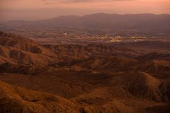 Indio and Coachella City. In the Coachella Valley, California, United States. Sunset Panorama Royalty Free Stock Images
