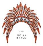 Indio del nativo americano coloreado principal cucaracha anaranjada Tocado indio de la pluma del águila Fotos de archivo libres de regalías