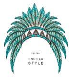 Indio del nativo americano coloreado principal Tocado indio de la pluma del águila Imágenes de archivo libres de regalías