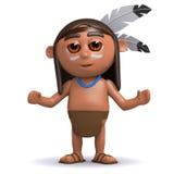 indio del nativo americano 3d con los brazos extendidos stock de ilustración