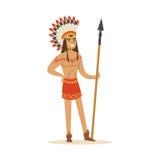 Indio del nativo americano en ropa india tradicional con un ejemplo del vector de la lanza Foto de archivo libre de regalías