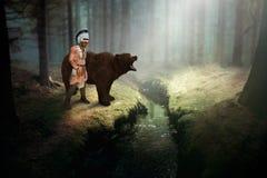 Indio del nativo americano, oso grizzly, naturaleza, fauna
