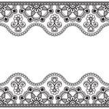 Indio, línea elemento de la alheña de Mehndi de la frontera del cordón con la tarjeta de modelo de flores para el tatuaje en el f Fotos de archivo