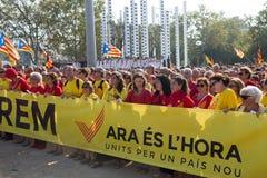 Indipendenza esigente di raduno per la Catalogna Fotografia Stock