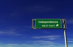 Indipendenza - segno dell'uscita di autostrada senza pedaggio Fotografia Stock