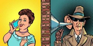 Indique interceptar conversações, espião escuta a conversação no telefone ilustração do vetor