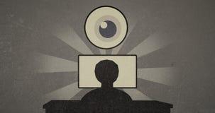 Indique la animación retra del vídeo 4k de la vigilancia y de la seguridad de Internet
