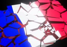 Indique o colapso França, francês, bandeira 3d rendida ilustração do vetor