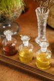 Indique uma fileira de garrafas dos termas da aromaterapia imagens de stock