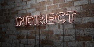 INDIRECT - Enseigne au néon rougeoyant sur le mur de maçonnerie - 3D a rendu l'illustration courante gratuite de redevance illustration stock