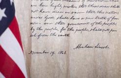 Indirizzo del ` s Gettysburg di presidente Abraham Lincoln Fotografie Stock