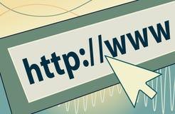 Indirizzo Internet con l'icona del cursore Fotografie Stock