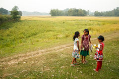 Indisch dorp, kinderen Stock Foto