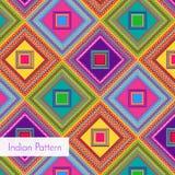 Indisch Gedetailleerd en gemakkelijk editable Patroon - Stock Afbeeldingen