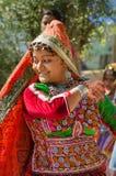 Indisch jong het dorpsmeisje van Gujarati Stock Afbeelding
