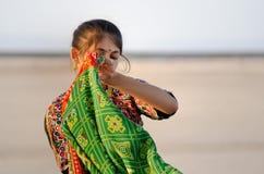 Indisch jong het dorpsmeisje van Gujarati Stock Foto's