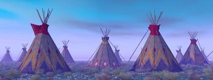 Indisch kamp bij dageraad stock illustratie