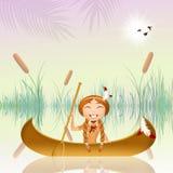 Indisch meisje in de kano vector illustratie