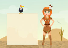 Indisch meisje in de woestijn royalty-vrije illustratie