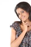 Indisch meisje in een heel stemming met partij van geluk royalty-vrije stock afbeelding