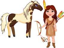 Indisch meisje en Paard stock illustratie