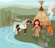 Indisch meisje en Paard royalty-vrije illustratie