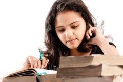 Indisch Meisje met boeken Stock Afbeelding