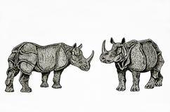 Indisch rinocerossenpaar vector illustratie
