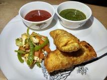 Indisch snack paneer broodje met groene & rode souce en gebraden salade royalty-vrije stock foto
