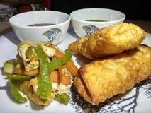 Indisch snack paneer broodje met groene & rode souce en gebraden salade stock afbeeldingen