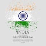 Indisch vlag tri-kleur gebaseerd grunge ontwerp met bloemenkader decoratieve achtergrond Royalty-vrije Stock Afbeelding