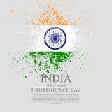 Indisch vlag tri-kleur gebaseerd grunge ontwerp met bloemenkader decoratieve achtergrond Stock Fotografie