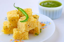 Indisch Voedsel Dhokla Royalty-vrije Stock Foto
