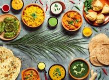 Indisch voedsel en Indische keukenschotels, exemplaarruimte stock afbeeldingen