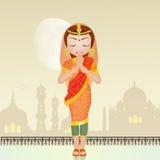 Indisch vrouwengebed stock illustratie