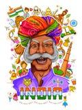 Indische achtergrond die zijn ongelooflijke cultuur en diversiteit met monument, dans en festivalviering voor vijftiende tonen vector illustratie