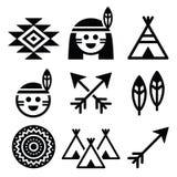 Indische Amerikaanse, inheemse mensen en geplaatste cultuurpictogrammen Stock Foto's