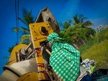 Indische Arbeiders bij bouwwerf stock fotografie