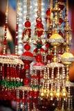 Indische Aziatische bruids kalire die klokken tingelen bij de markt van het cultuurfestival Royalty-vrije Stock Foto's