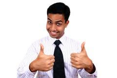 Indische bedrijfsmens met 2 omhoog duimen. Stock Fotografie