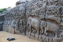 Indische beeldhouwwerkkunst, Mahabalipuram Stock Foto's