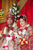 Indische bruid en bruidegom Stock Afbeelding