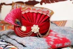 Indische Bruidegom` s Hoed royalty-vrije stock foto's