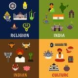 Indische cultuur, godsdienst en nationale pictogrammen stock illustratie