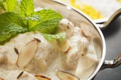 Indische Curry-Huhn-Korma-Nahaufnahme Lizenzfreies Stockfoto