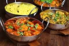 Indische Curry-Nahrungsmittelteller Stockfotos