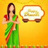 Indische dame die Gelukkige Diwali wensen vector illustratie